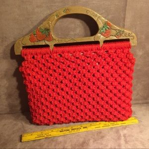 Vintage Strawberry Themed Purse w/ Wooden Handles